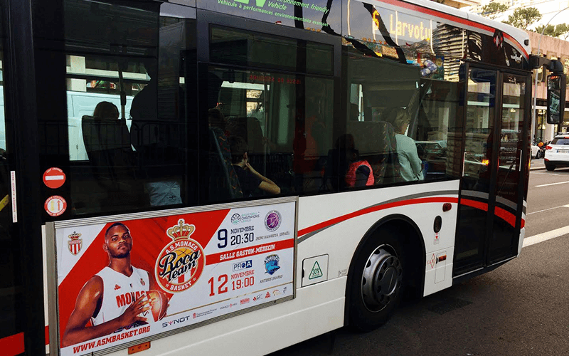 AS Monaco Basket. Advertising on city transport