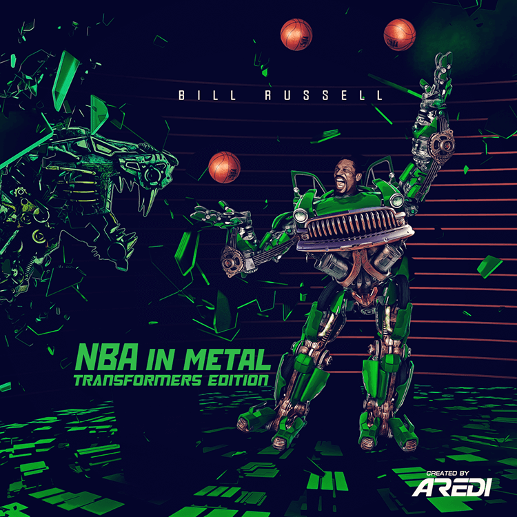 Bill Russell. NBA in metal. Transformers edition.